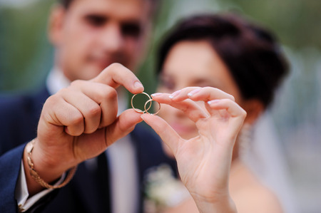 bride and groom holding hands in a ring