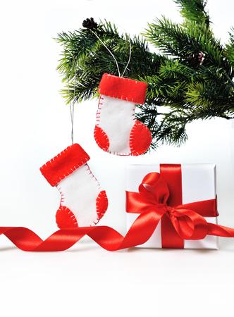 botas de navidad: Decoraci�n de Navidad con regalos y botas de Navidad