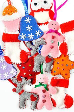 Texture of Christmas toys, handmade fleece. Beautiful Christmas background photo