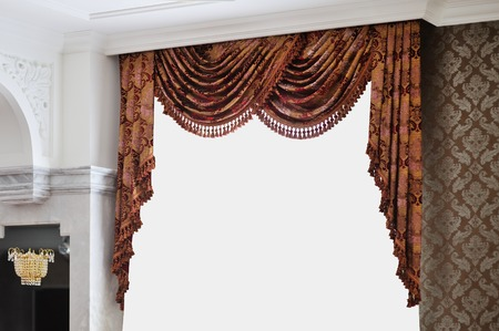 luxurious: Beautiful vintage curtain in a luxurious room. Stock Photo