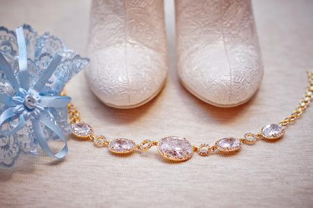 white wedding bride shoes. photo