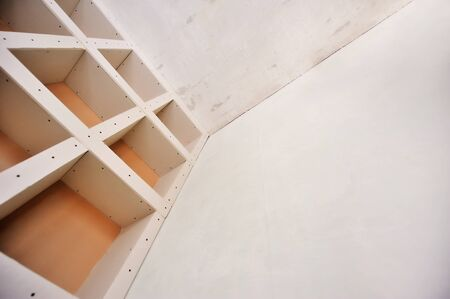 A sheetrock or drywall background. The design of the interior drywall Stock Photo
