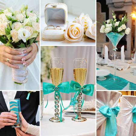 collage of wedding pictures decorations in turquoise, blue colors