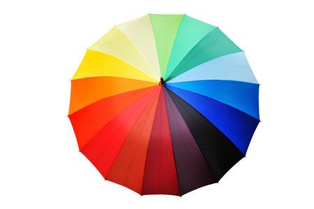 Opened multicolored umbrella isolated on a white background. photo