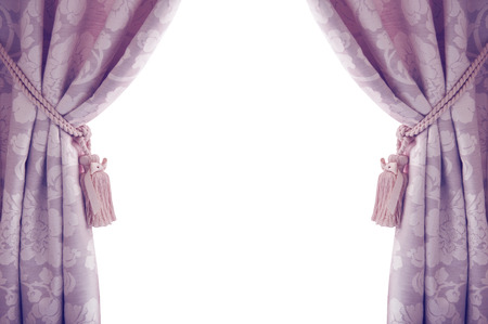 Curtains isolated on white background purple color Stock Photo - 39899792