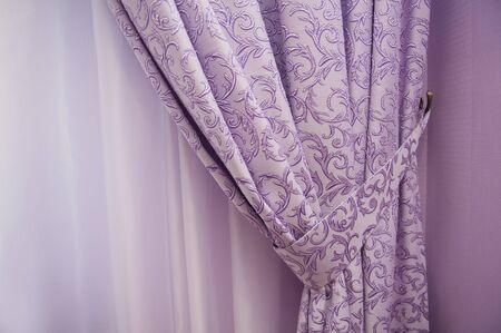 Balcony window with purple curtains in room Stock Photo - 39899840