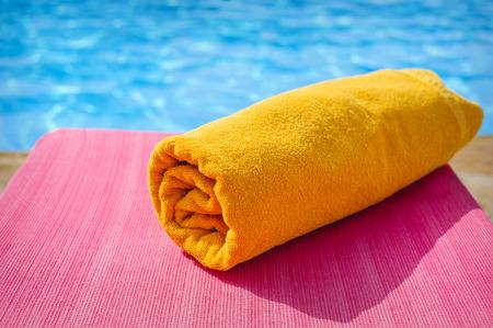 sunbed: towel on a sunbed, beach