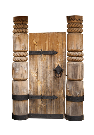 hinges: old wooden door with metal hinges. isolated