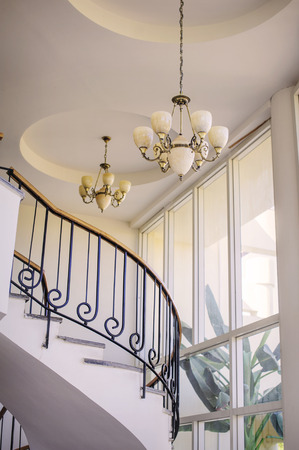 chandeliers: Staircase in the interior, chandeliers