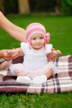 five month old: Beautiful five month old baby girl Stock Photo