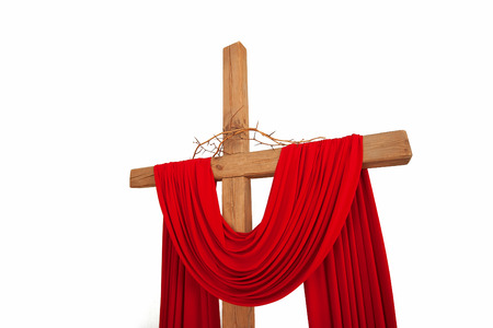 golgotha: A wooden christian cross with a crown of thorns isolated on white background Stock Photo
