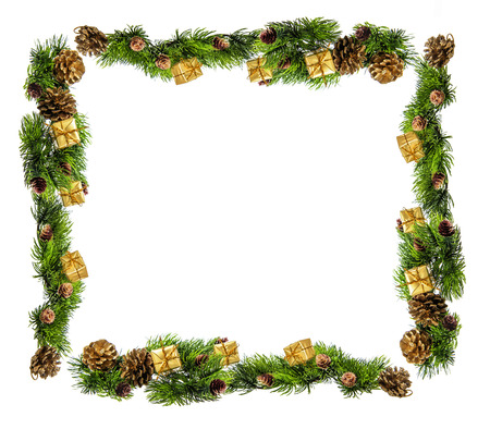 Christmas composition of tree branches and gifts Standard-Bild