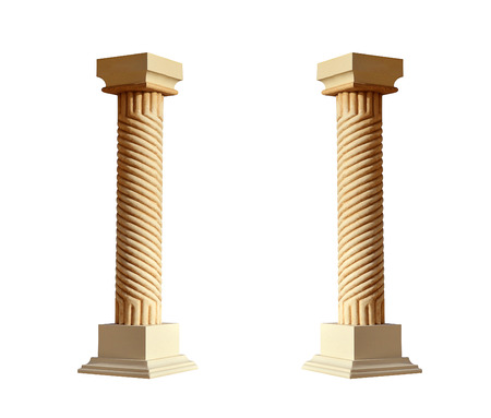 Greek architectural column isolated on white background photo