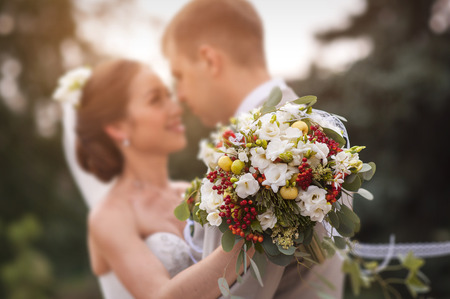 romantic flowers: Groom and bride together. Wedding couple.