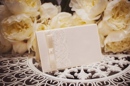 wedding photo frame: empty card to place text surrounded by flowers for your text