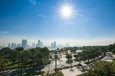 united arab emirates: Park overlooking the city, United Arab Emirates.