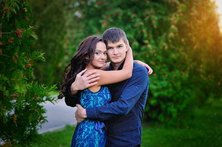 Young happy smiling attractive couple together outdoors. Stock Photo - 40820967