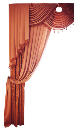 red curtains on a white background photo