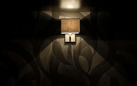 black wall: square Electric lamp against a black wall.