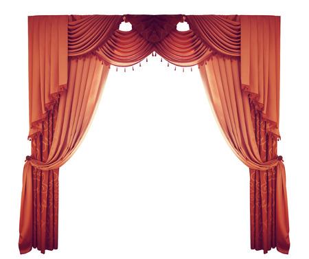 cortinas rojas: cortinas rojas en un fondo blanco