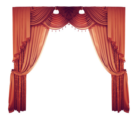 theatre performance: red curtains on a white background