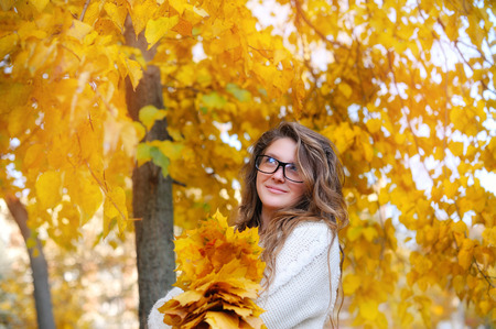 Young smiling girl-student in glasses close up against yellow autumn nature. Stock Photo