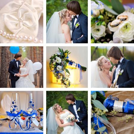 Wedding collage blue, turquoise style. photo