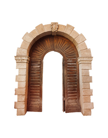 antik: Architectural arch on a white , with wood inserts. Stock Photo