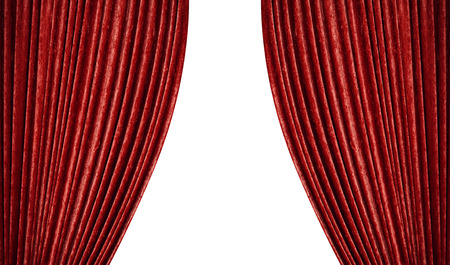 Red curtains on a white .