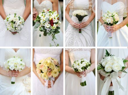 Collage wedding bouquets in their hands.