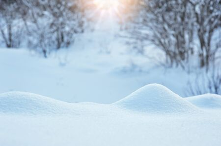 snowdrift: Winter with a snowdrift and sun. Stock Photo