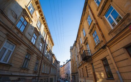 lviv: Narrow street of Lviv. Stock Photo