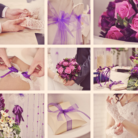 collage: Wedding collage in vintage style. Stock Photo