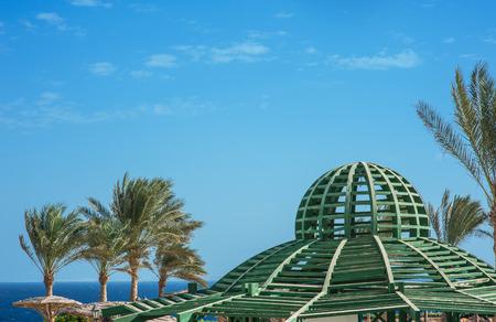 gazebo: Gazebo wooden ceiling on blue sky background