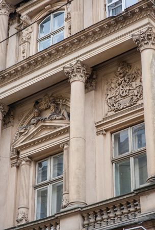 lviv: architectural elements windows, columns of Lviv. Stock Photo