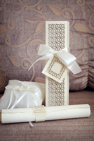 complimentary: wedding arrangement and complimentary pillow. Stock Photo