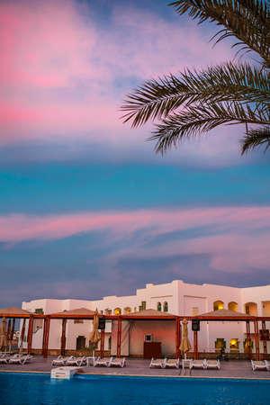 el sheikh: Sunset and beach of the luxury hotel, Sharm el Sheikh, Egypt. Stock Photo
