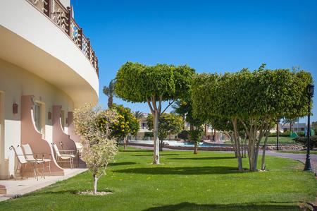park, green trees and a balcony. Stock Photo - 41865416