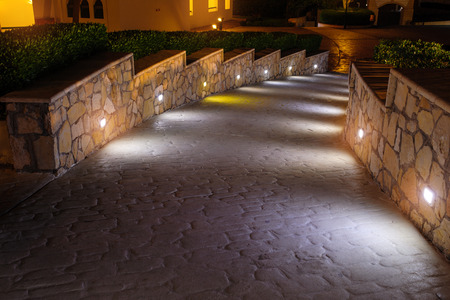 Night lighting path for walks in the hotel.