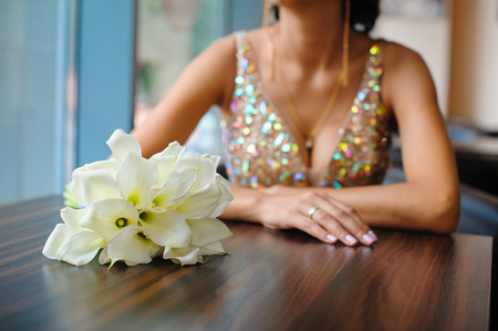 callas: Elegant bridal bouquet of white callas. Stock Photo