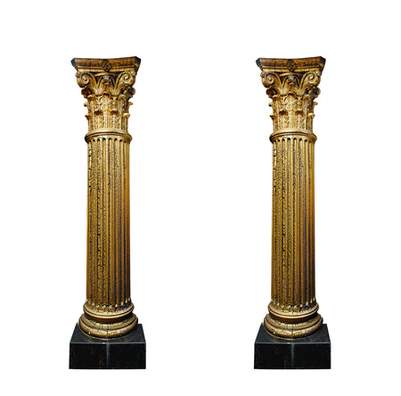 two gold columns isolated on white background.