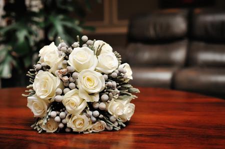 white wedding bouquet of roses. Stock Photo