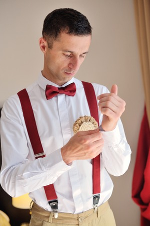 french cuffs: groom dress shirt on the morning of the wedding day Stock Photo