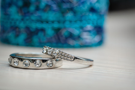 white gold: Two beautiful wedding rings made of white gold. Stock Photo