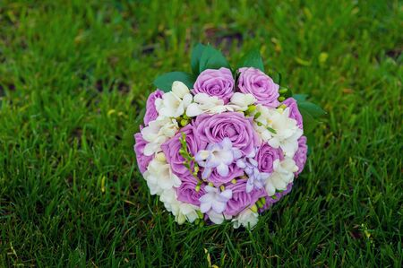 purple roses: bridal bouquet of purple roses on the grass. Stock Photo