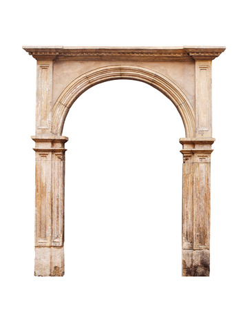 gothic: Ancient arch isolated on white background. Stock Photo