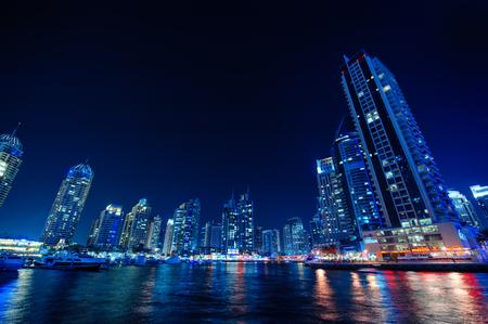 Beautiful Night view of the skyscrapers in Dubai.