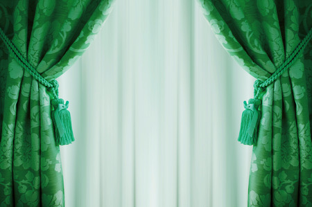 curtain window: Beautiful green curtains with tassels and tulle. Stock Photo