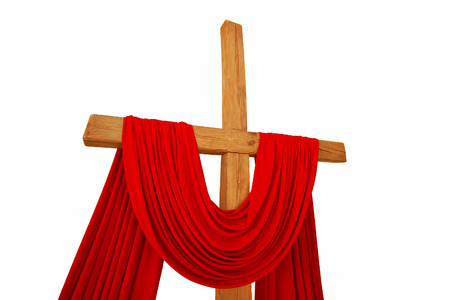 golgotha: wooden Christian cross with a red cloth isolated on a white background