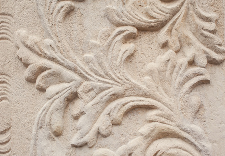 close-up of architectural relief pattern plants.